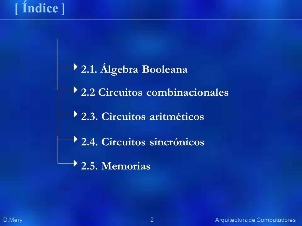 [ Índice ] 2.1. Álgebra Booleana 2.2 Circuitos combinacionales